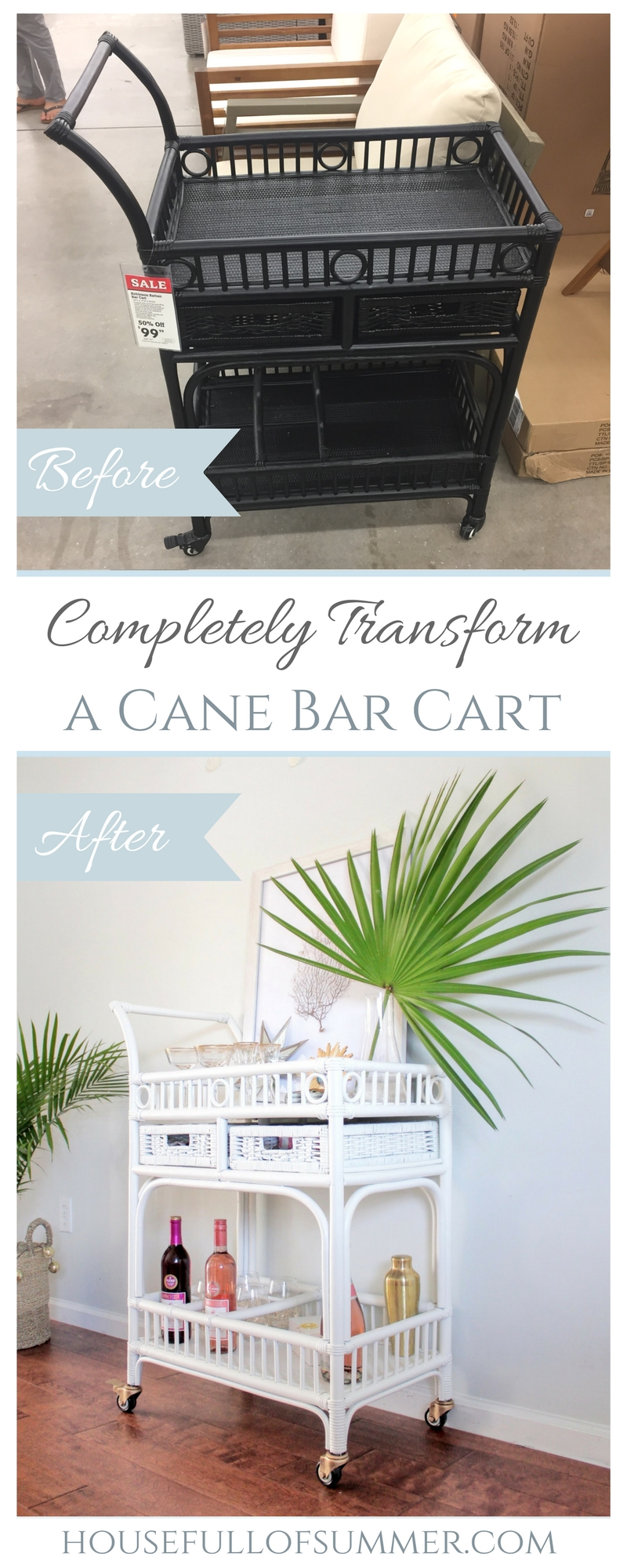 Completely Transform a Cane Bar Cart | House Full of Summer - paint sprayer, spray paint, simply white paint, gold wheels, bar cart makeover, DIY furniture painting, coastal home decor, Florida home decor ideas, tropical bar cart styling, top coat, how to use a home paint spray gun, paint wheels gold, rub n' buff, #housefullofsummer #coastaldecor #barcart #homediy