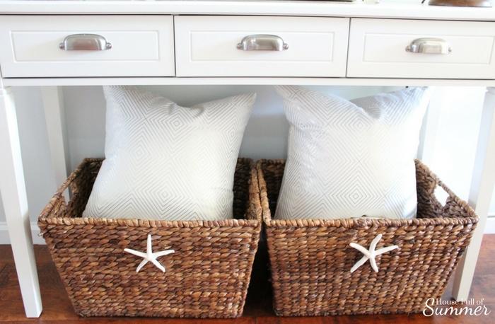 DIY Starfish Basket - A Perfect Addition to Summer Decor! | House Full of Summer blog, Coastal Home & Lifestyle, easy summer decor ideas, coastal decor, cheap decorating on a budget, Florida home decor ideas, foyer decor, tropical decor, chinoiserie chic, bamboo lamps #housefullofsummer #coastaldecor