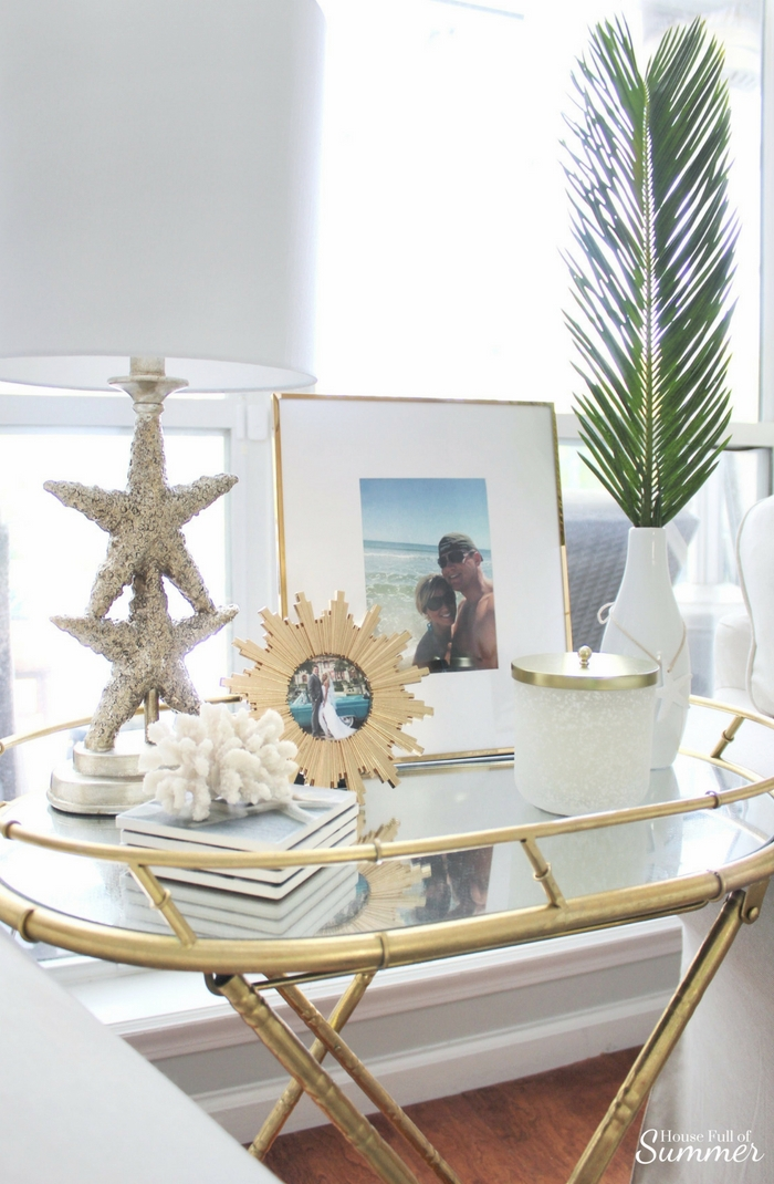 Loveliest Looks of Summer Tour | Fresh & Breezy Summer Style - coastal home decor for summertime, summer outfit ideas, ruffle top, tassel earrings, living room decor, dining room decor, tropical greenery, decor on a budget, free ways to decorate, foyer styling, table styling,
