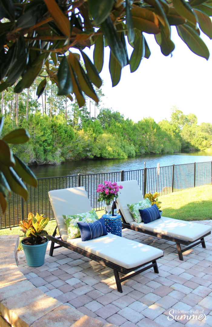 Create a Romantic Backyard Date Night for $10 or Less | House Full of Summer coastal living, outdoor spaces, backyard ideas, patio decor, chaise lounge, budget date night ideas, home date night ideas, romantic backyard, outdoor pillows, michigan wine, #housefullofsummer