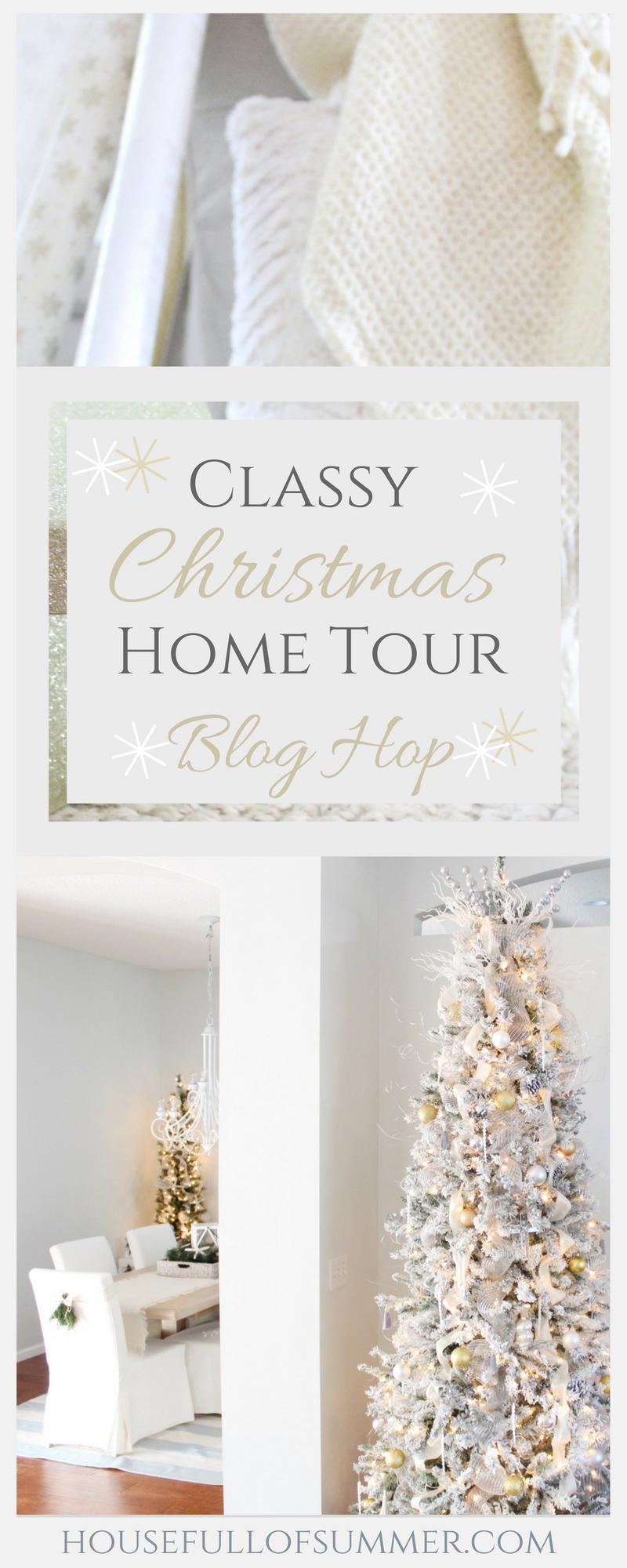 Christmas Home Tour | House Full of Summer blog hop - Cheerful Christmas Home Tour coastal christmas neutral christmas decor, holiday home tour, florida christmas style, beachy decor, foyer decor, diy Christmas #housefullofsummer #christmasdecor #coastaldecor