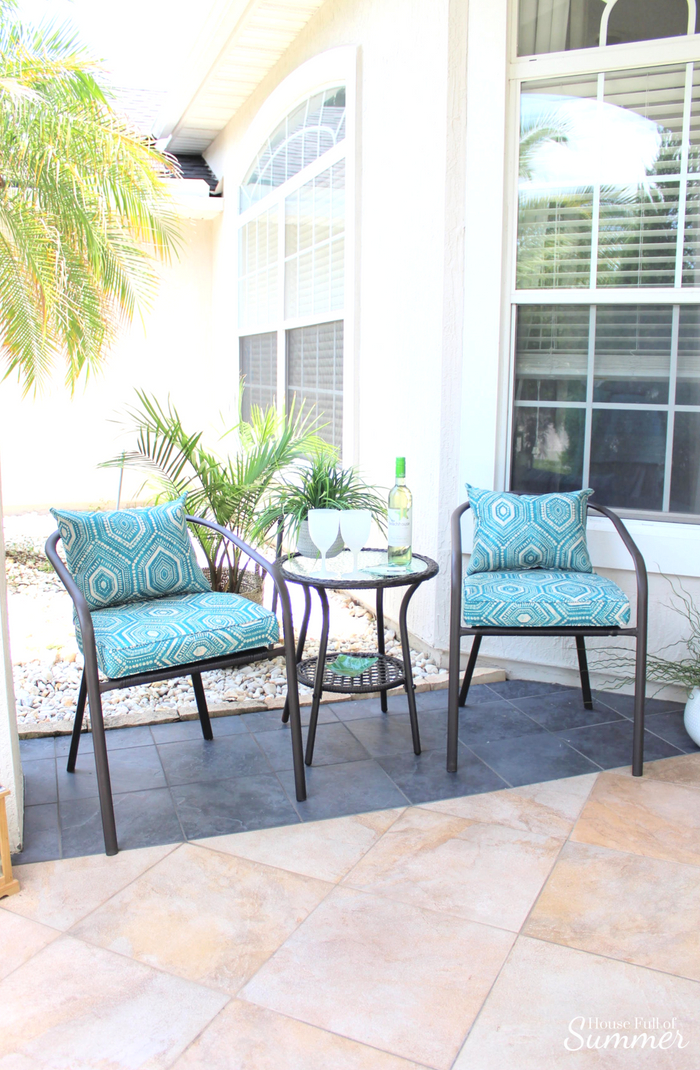 Make Room for Conversation on a Small Front Porch | House Full of Summer - front porch decor, bistro set, patio furniture, Florida home decor, coastal decor, exterior palm trees #ad #housefullofsummer #christmastreeshopsandthat!