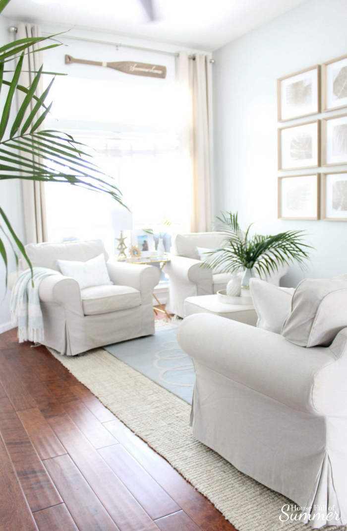 Wonderful Serene Coastal Chic Living Room Decor | House Full Of Summer Coastal Home  Interior, Palm
