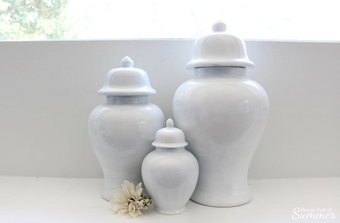 Hand Painted Ginger Jars in Fun Modern Colors - A Twist on a Classic Design | House Full of Summer transitional mantel decor, fall decorating ideas, light blue ginger jars, plain hand painted ginger jars