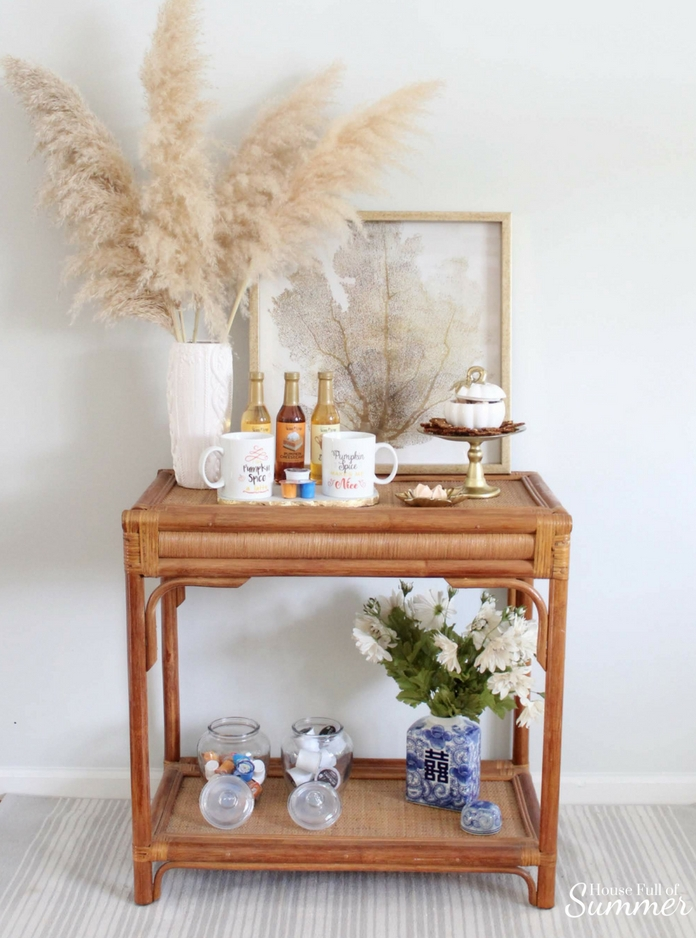 Pumpkin Spice Coffee Bar | House Full of Summer fall decorating ideas, fall drinks, psl season, table decor, cane table, chinoiserie chic, coastal fall decorating ideas