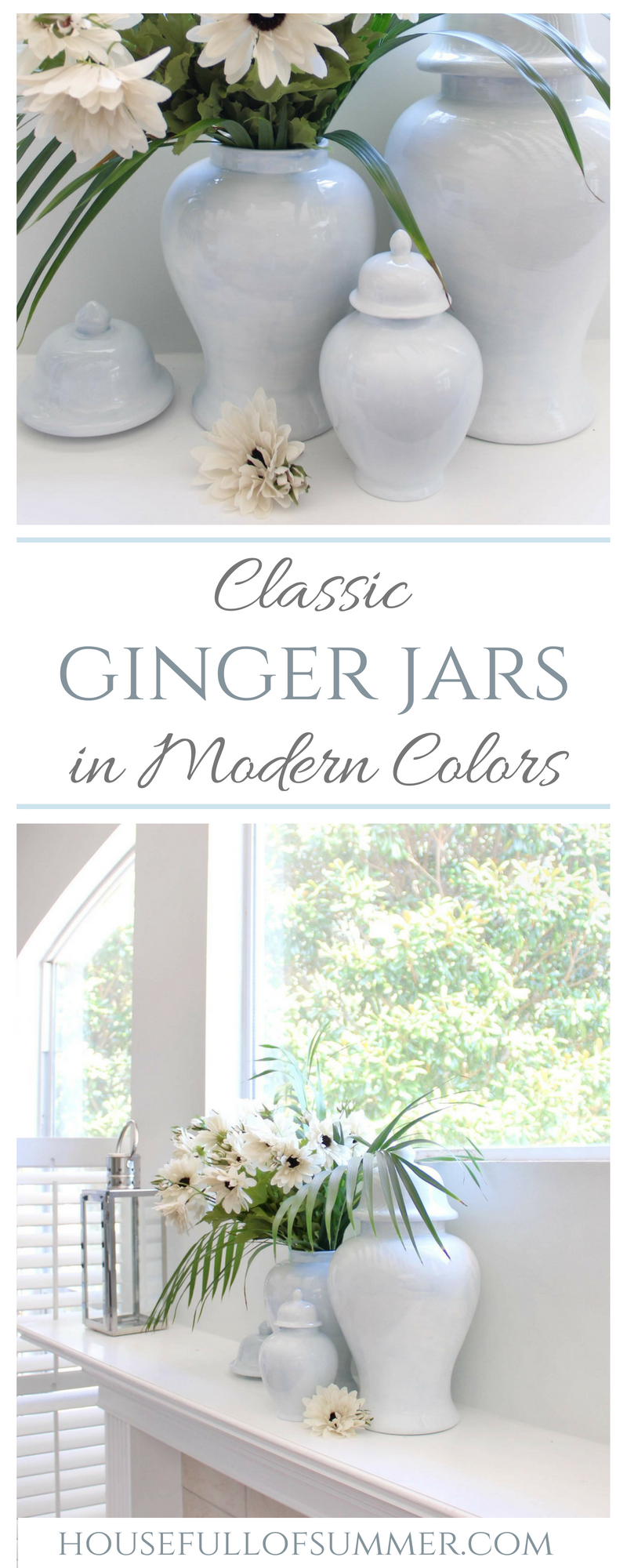 Classic Ginger Jars in Modern Colors | House Full of Summer - Lo Home decor, transitional mantel, classic decor, coastal home interior, Palm Beach chic design, Southern style, blue ginger jars