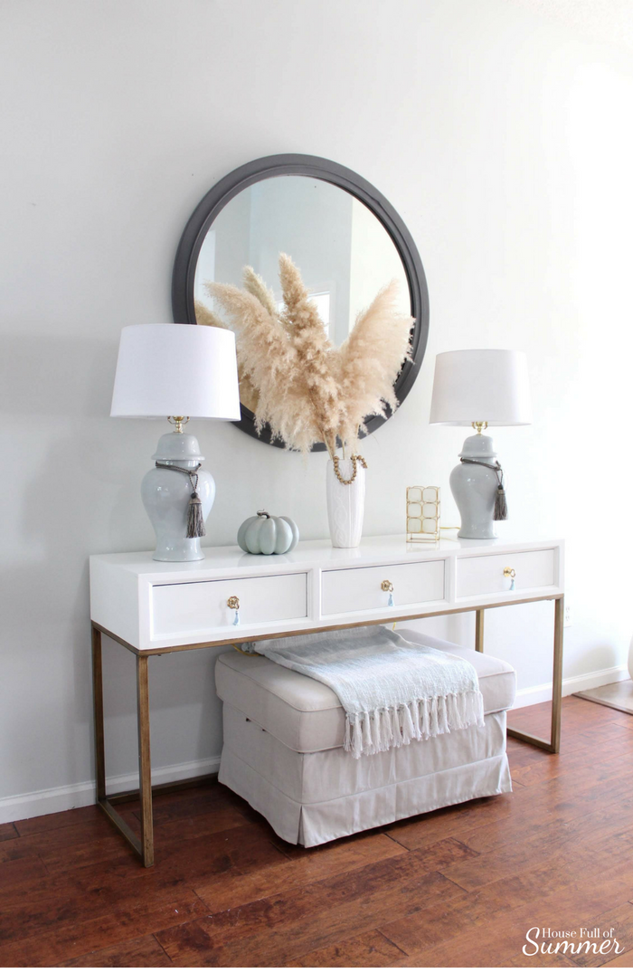 Simple and Subtle Fall Decor | Touches of Fall Home Tour Blog Hop | House Full of Summer blog, coastal fall decor, neutral decor, gray beige blue fall decorating, non-traditional fall decor, autumn home interior, living room, dining room gray slipcovered chairs, beach art, slipcover furniture