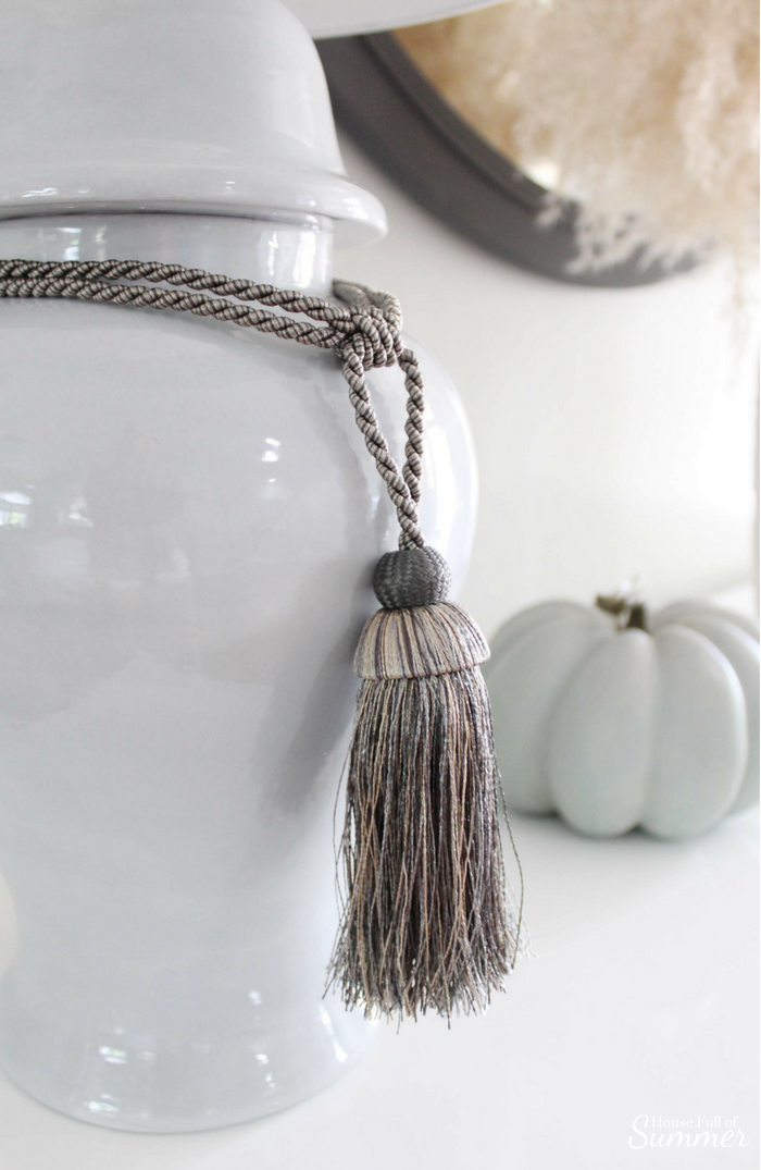 Simple and Subtle Fall Decor | Touches of Fall Home Tour Blog Hop | House Full of Summer blog, coastal fall decor, neutral decor, gray beige blue fall decorating, non-traditional fall decor, autumn home interior, living room, dining room gray slipcovered chairs, beach art, slipcover furniture, foyer console table, tassels, chinoiserie, ginger jars, coastal chic