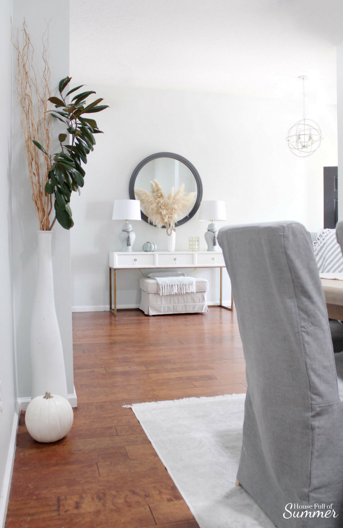 Simple and Subtle Fall Decor | Touches of Fall Home Tour Blog Hop | House Full of Summer blog, coastal fall decor, neutral decor, gray beige blue fall decorating, non-traditional fall decor, autumn home interior, living room, dining room gray slipcovered chairs, beach art, slipcover furniture, foyer console table, tassels, chinoiserie, ginger jars, coastal chic, gray paint wall color