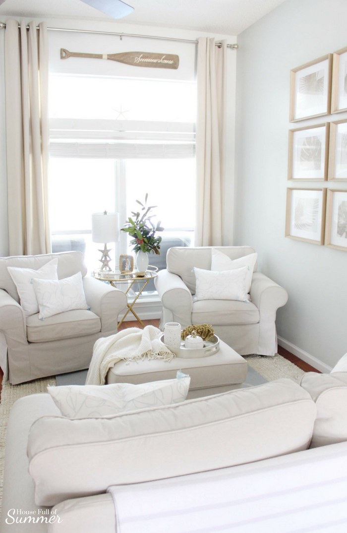Simple and Subtle Fall Decor | Touches of Fall Home Tour Blog Hop | House Full of Summer blog, coastal fall decor, neutral decor, gray beige blue fall decorating, non-traditional fall decor, autumn home interior, living room, dining room gray slipcovered chairs, beach art, slipcover furniture, foyer console table, tassels, chinoiserie, ginger jars, coastal chic, guest room, turquoise fall decor, beach house style