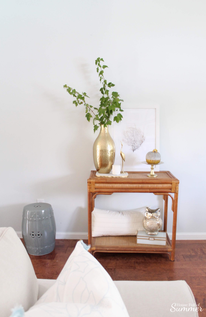 Simple and Subtle Fall Decor | Touches of Fall Home Tour Blog Hop | House Full of Summer blog, coastal fall decor, neutral decor, gray beige blue fall decorating, non-traditional fall decor, autumn home interior, living room, dining room gray slipcovered chairs, beach art, slipcover furniture, foyer console table, tassels, chinoiserie, ginger jars, coastal chic, guest room, turquoise fall decor, beach house style, cane table