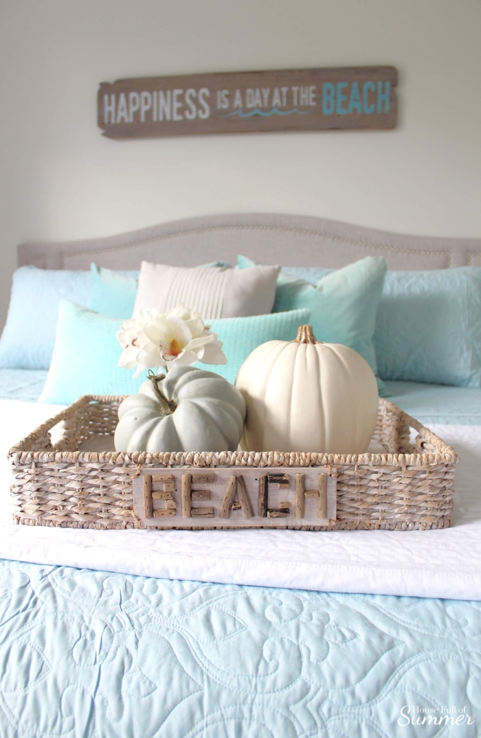 Simple and Subtle Fall Decor | Touches of Fall Home Tour Blog Hop | House Full of Summer blog, coastal fall decor, neutral decor, gray beige blue fall decorating, non-traditional fall decor, autumn home interior, living room, dining room gray slipcovered chairs, beach art, slipcover furniture, foyer console table, tassels, chinoiserie, ginger jars, coastal chic, guest room, turquoise fall decor, beach house style, striped rug