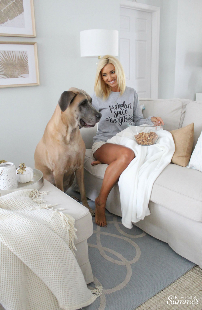 How I'm Getting Cozy This Season for Under $150! | House Full of Summer blog, fall styling ideas, comfy fall décor, cozy home interior, cozy outfits for fall weekends, Thanksgiving outfit, pumpkin spice everything, white interior, neutral fall décor, blankets and throws, preparing for holiday guests, living room decor, coffee mug #christmastreeshopandthat #andthatfunfinds #ad