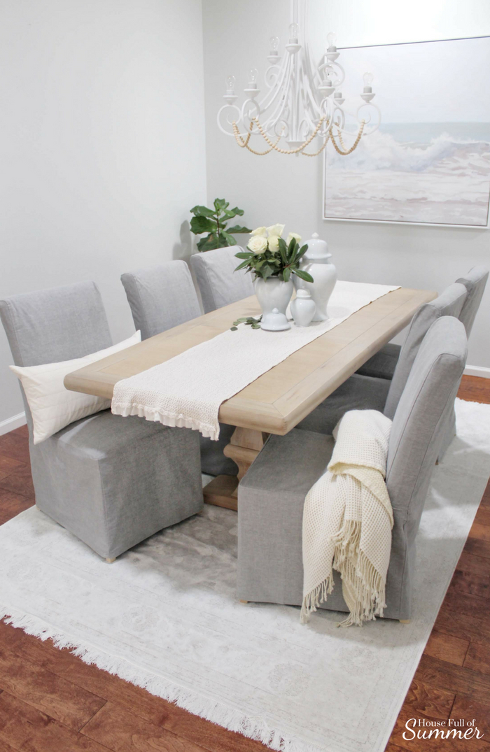 Why I Love My Comfort Works Dining Chair Covers | House Full of Summer blog - dining chair slipcover review, gray slipcovered chairs, coastal dining room decor, seasonal decor, cozy home decor, durable fabric, Comfort Works custom slipcovers #housefullofsummer #coastaldecor #sponsored #diningroom