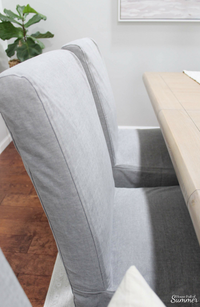 Why I Love My Comfort Works Dining Chair Covers | House Full of Summer blog - dining chair slipcover review, gray slipcovered chairs, coastal dining room decor, seasonal decor, cozy home decor, henriksdal ikea chairs, custom covers, durable fabric, Comfort Works custom slipcovers #housefullofsummer #coastaldecor #sponsored #diningroom