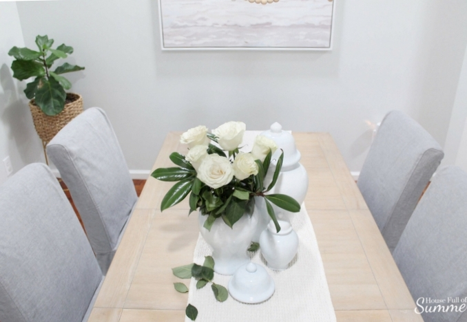 Why I Love My Comfort Works Dining Chair Covers | House Full of Summer blog - dining chair slipcover review, gray slipcovered chairs, coastal dining room decor, seasonal decor, cozy home decor, durable fabric, cheap centerpiece ideas, inexpensive table decor, tablescape Comfort Works custom slipcovers #housefullofsummer #coastaldecor #sponsored #diningroom