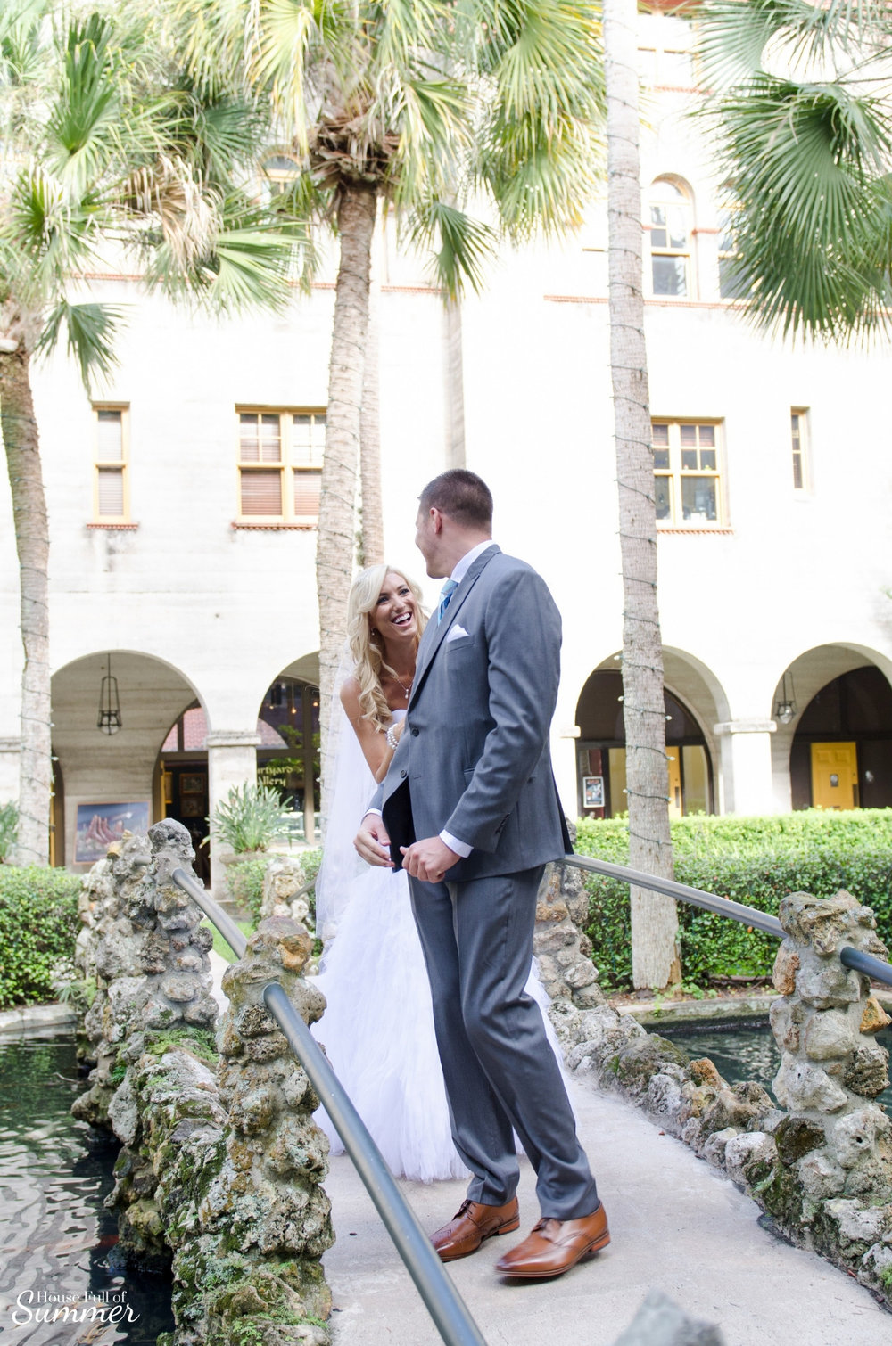 Why I Chose to Have a First Look on Our Wedding Day | House Full of Summer - wedding day ideas, first look photography ideas, first look with the groom, Florida wedding, St. Augustine, Lightner Museum, wedding dress, botanical garden, mermaid dress, ruffles, veil, palm trees