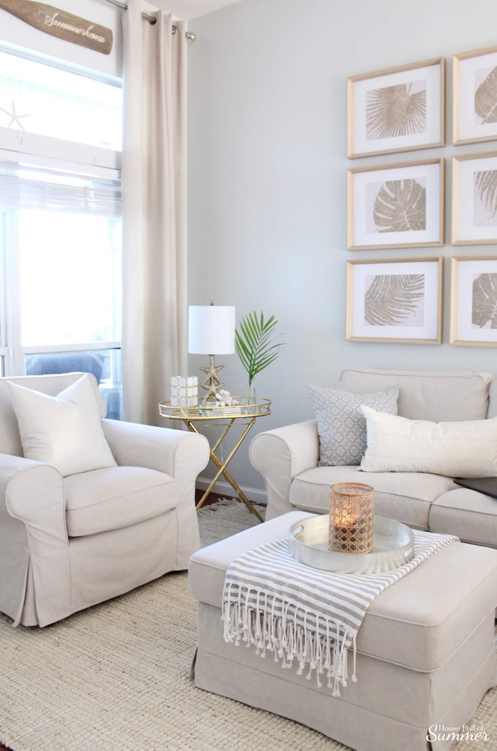 Styling My Coastal Living Room for Winter | House Full of Summer - coastal decor, living room decor, decorating for winter, neutral furniture, jute rug, gallery wall, palm fronds, gray paint color, Sherwin Williams