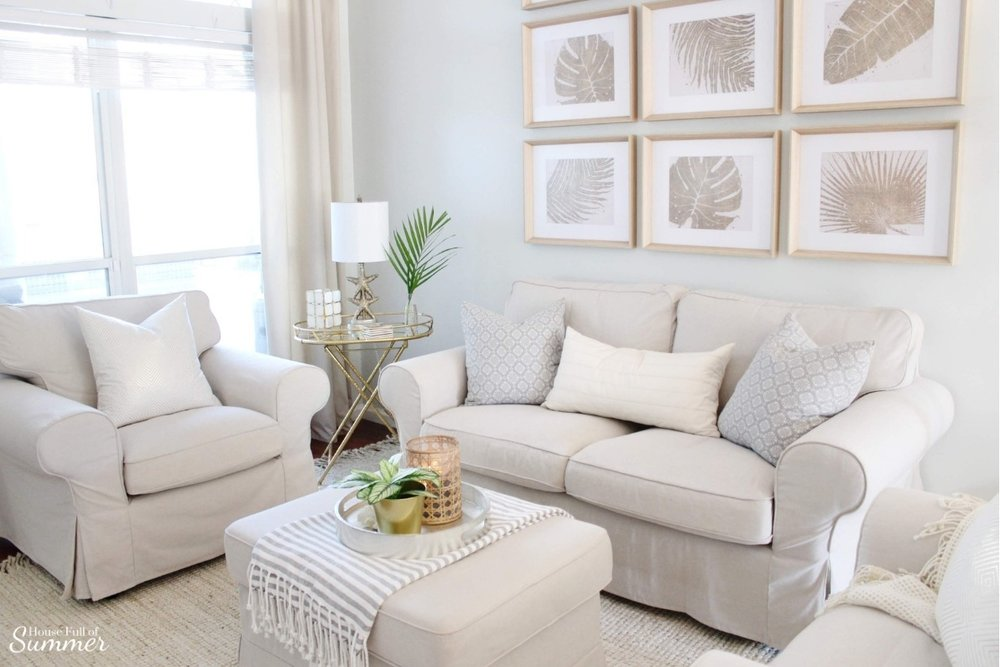 Styling My Coastal Living Room for Winter | House Full of Summer - coastal decor, living room decor, decorating for winter, neutral furniture, jute rug, gallery wall, palm fronds