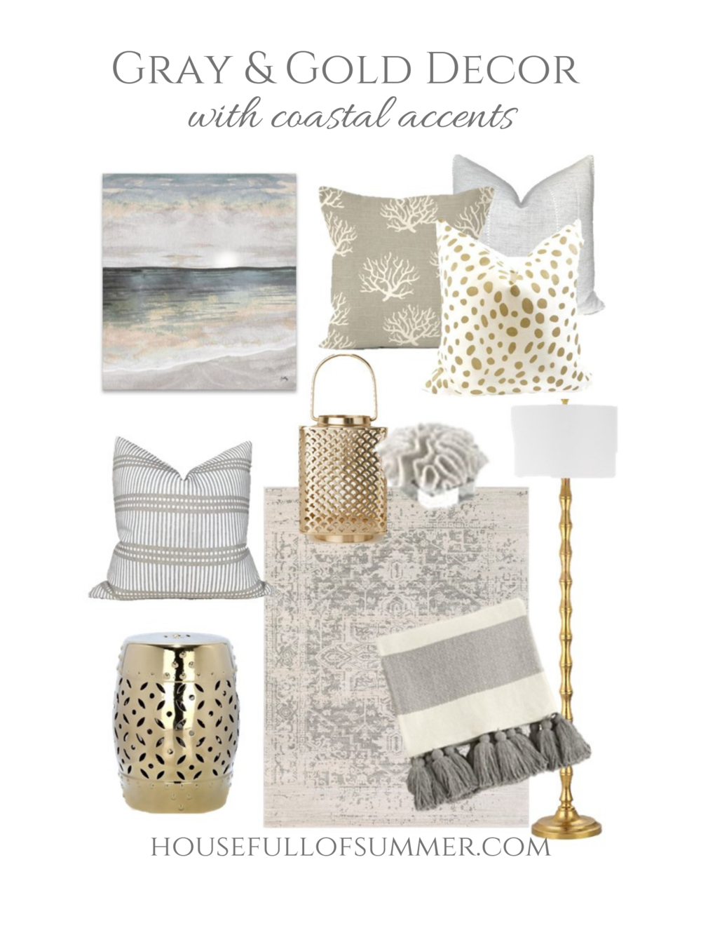 Gray and Gold Decor Mood Board - Plus how to easily make a space feel coastal. Easy decor switches to take you from one season to the next! | House Full of Summer, coastal decor, living room design, coastal chic living room styling, gold mirror, neutral beach decor, gray beach painting art, glam decor #housefullofsummer #coastaldecor