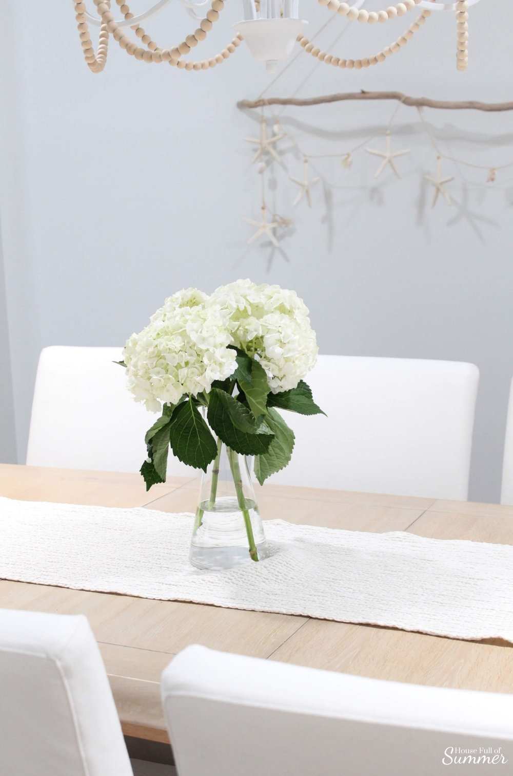 5 Items You'd Never Guess I Found on Craigslist and how to buy safely.  DIY chandelier, dining table, trestle table, whitewash wood, coastal dining room, beach art,  coastal home decor, hydrangeas Florida home #housefullofsummer