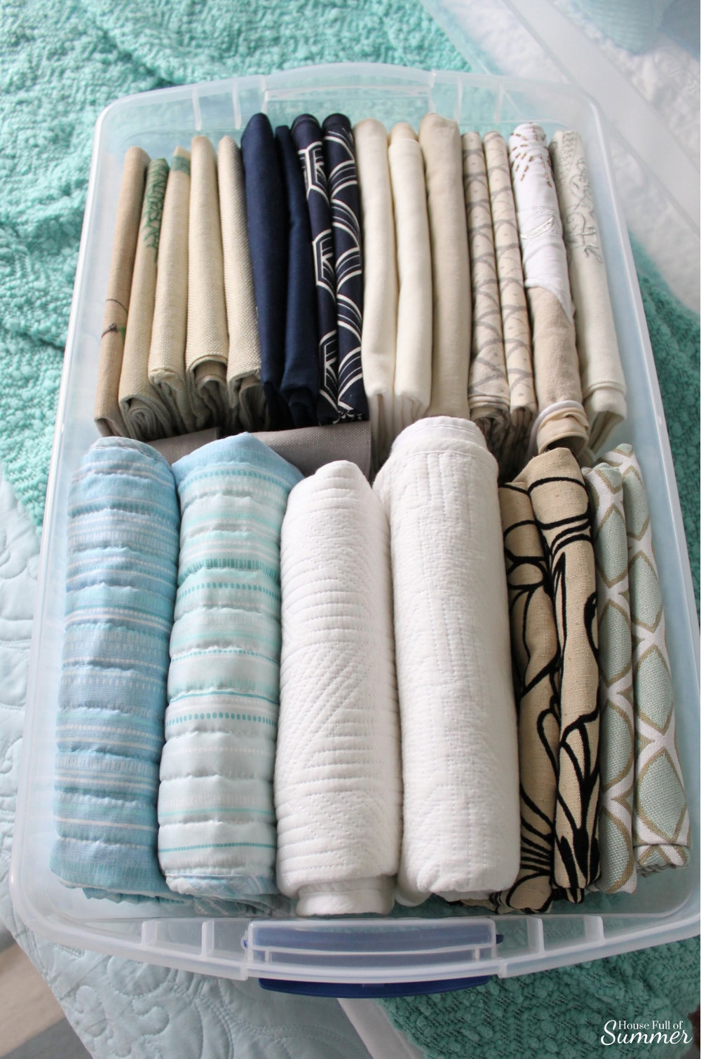Storage Solutions for the Throw Pillow Obsessed | House Full of Summer - how to create extra storage space for throw pillows and pillow covers, bedding, organization, folding technique #mariekondo kondo method