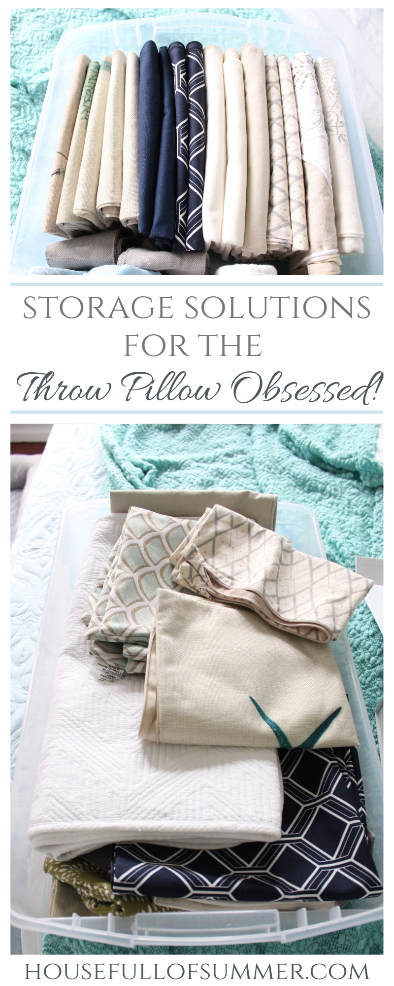 Storage Solutions for the Throw Pillow Obsessed | House Full of Summer - how to create extra storage space for throw pillows and pillow covers, bedding, organization, #mariekondo kondo method