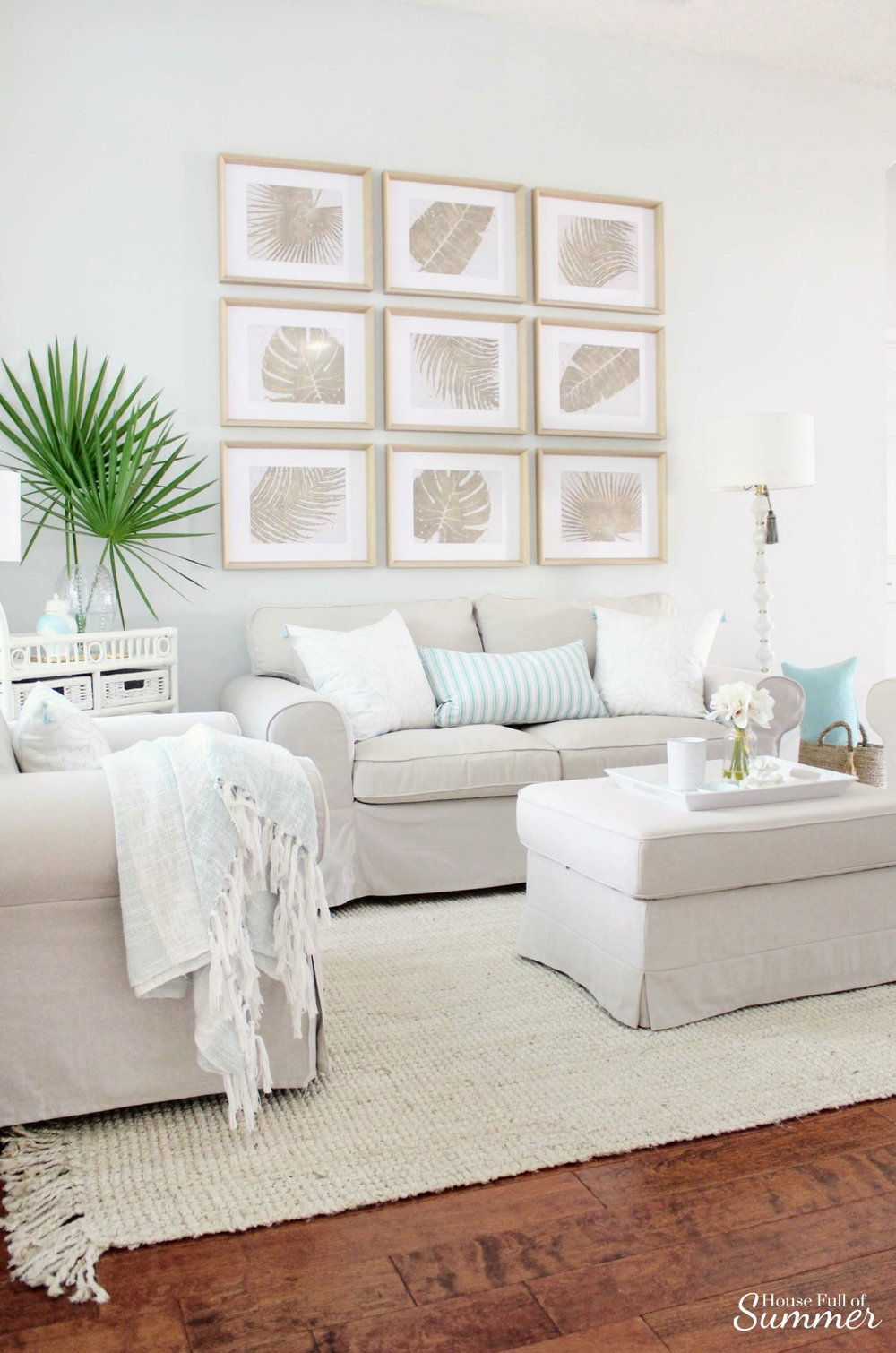 Adding Spring Color to the Living Room and Foyer | House Full of Summer - spring decor, coastal decor, neutral interior, turquoise accents, console table, round mirror, fiddle leaf fig, decorating with palm fronds, entryway, lighting, Florida home decor ideas, slip covered furniture, jute rug, beach house style, cane bar cart, DIY spray paint, budget decor, rattan bar cart, bamboo cart, accent table, spring home tour, chinoiserie chic, gallery wall