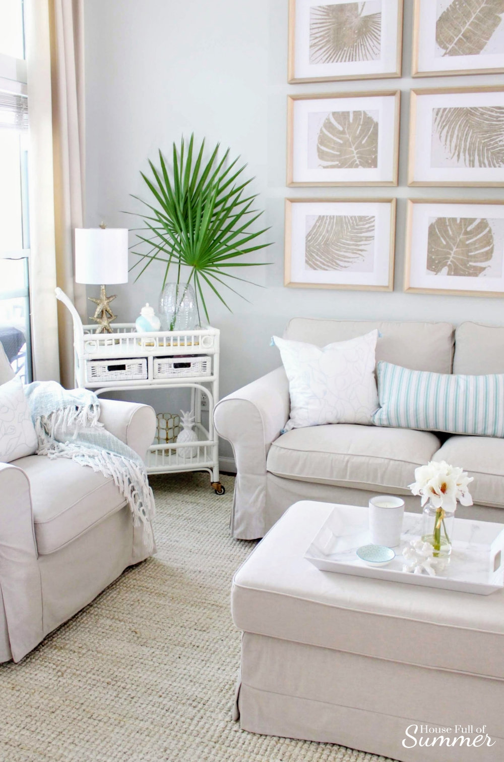 Adding Spring Color to the Living Room and Foyer | House Full of Summer - spring decor, coastal decor, neutral interior, turquoise accents, console table, round mirror, fiddle leaf fig, decorating with palm fronds, entryway, lighting, Florida home decor ideas, slip covered furniture, jute rug, beach house style, cane bar cart, DIY spray paint, budget decor, rattan bar cart, bamboo cart, accent table, spring home tour, chinoiserie chic, gallery wall, floor lamp