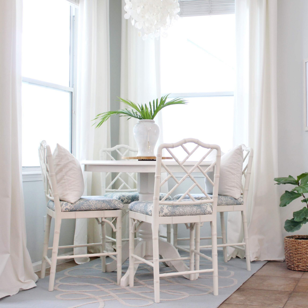 Custom Upholstered Stools for the Breakfast Nook