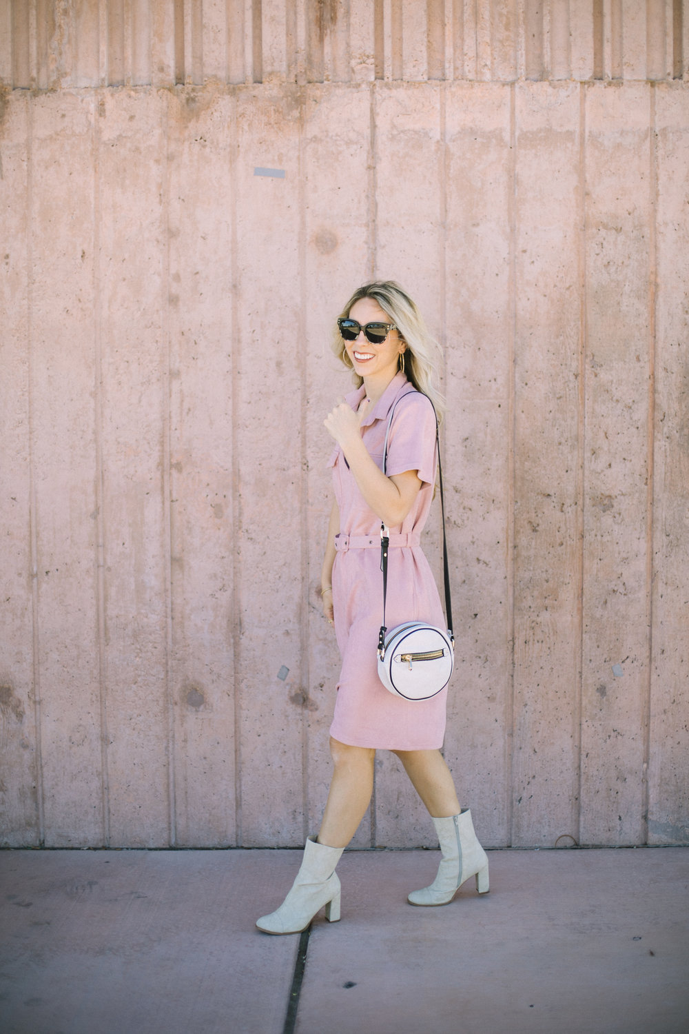 Pink Midi Dress by Las Vegas fashion bloggers Life of a Sister