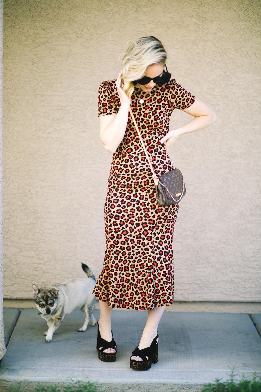 Cheetah print favorites featured by top US fashion blog, Life of a Sister: image of a woman wearing a cheetah print maxi dress