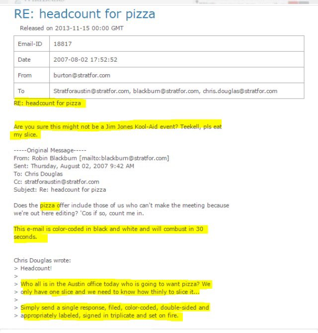 Odd pizza references  surface in Stratfor emails  [click to zoom]
