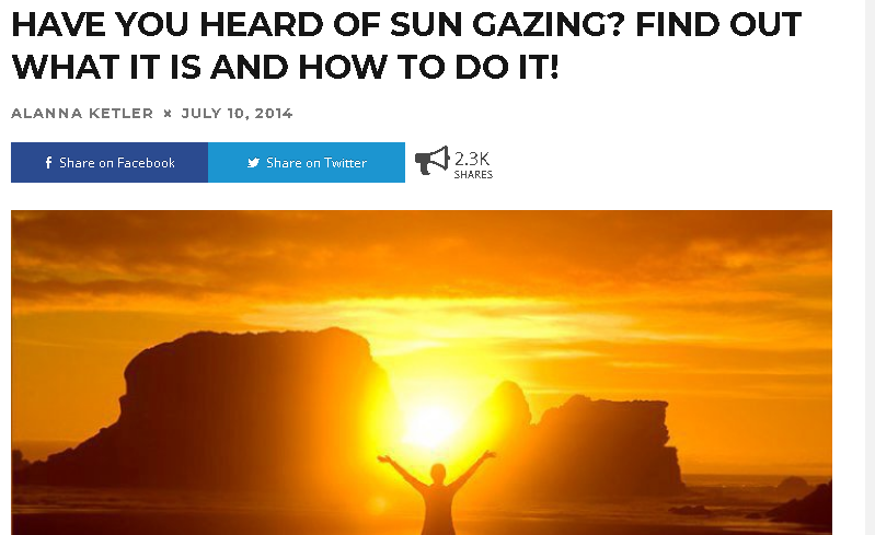 Independent Information about sun gazing - Interesting huh? More like incredible! We can be superbeings again!