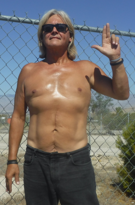 your cosmic guy 60 pounds lighter and 100 percent healthier at 58. sun gazing seemed the next logical step towards achieving super being status :) -