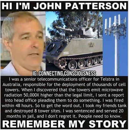 This is the delivery system, and you are surrounded by them. - Microwave towers are being constructed by the thousands in every state without your permission. These new 5-G towers are exponential in their damage to our DNA and brain chemistry.