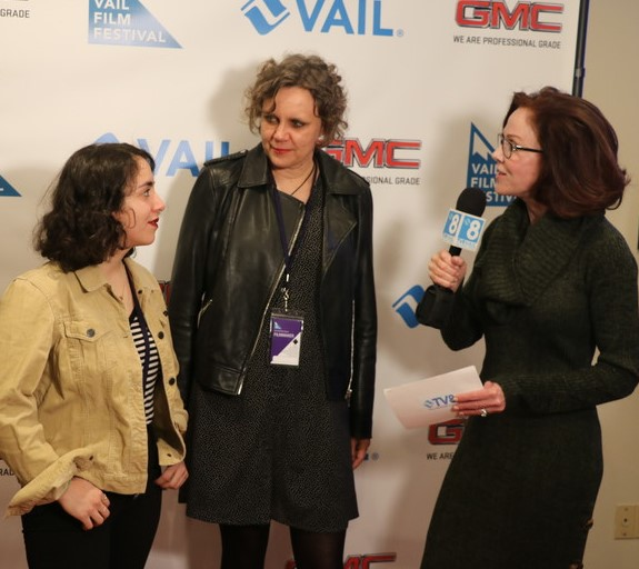 "The team behind the short film, ""The Invaders,"" are interviewed by TV8 Vail. From left, lead actor Isra Elsalihie, and producer Claudia Murdoch."