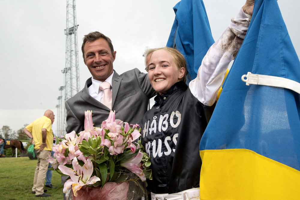 Winning rider Josefin Landgren and Swedish Jockey Coach Fredrik Johansson