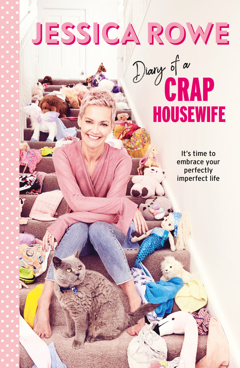"""Diary of a Crap Housewife - It's time to embrace your perfectly imperfect life.Why not cut the crap, take the pressure off and admit to the moments, days, weeks and months when the wheels do fall off? This crap housewife calls to unite all mothers who, like Jessica, sometimes feel they are not perfect.In this fabulous, funny, down-to-earth book, Diary of a Crap Housewife, Jessica Rowe writes honestly about her talent (or lack thereof) for cooking, about what's really important when it comes to mothering and family, and about her many and varied views, musings and commonsense advice on other #craphousewife matters.Being a crap housewife is a badge Jessica wears with pride, and it's a title she invites other women to embrace. The idea of crap lies in the real-life messes, hiccups, disasters and bad meals that many of us dish up and deal with every day. This mum is tired of the photos of perfectly packed school lunches, posts about gourmet family dinners eaten together over the table, and tales of neat, tidy and obedient children with smoothly brushed hair.It's time to reset the bar. Make expectations realistic. Strive to be kind, loving, smart and funny. Perfection is not required.""""My book is all about being gentle on yourself. We put way too much pressure on ourselves to be perfect in all parts of our lives. That's impossible - and no fun! It's my rallying cry to women that you are good enough,"""" said Jess.Diary of a Crap Housewife is available in-store and online from 1st April 2019."""