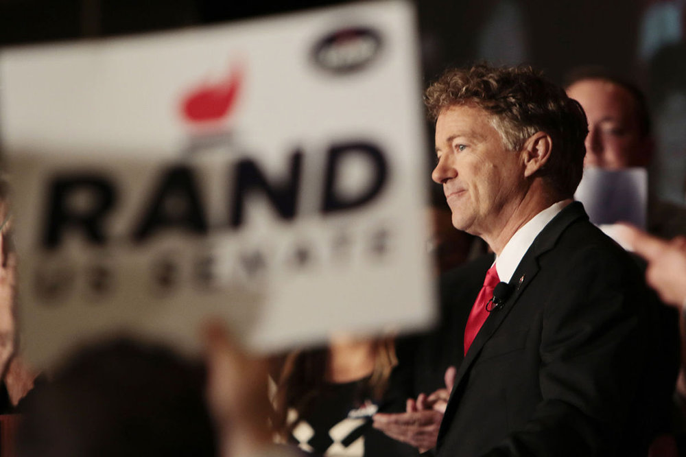 Sen. Rand Paul  smiles after winning re-election. Nov. 8, 2016, at the Galt House Hotel in Louisville, Kentucky. ( The Kentucky Kernel )