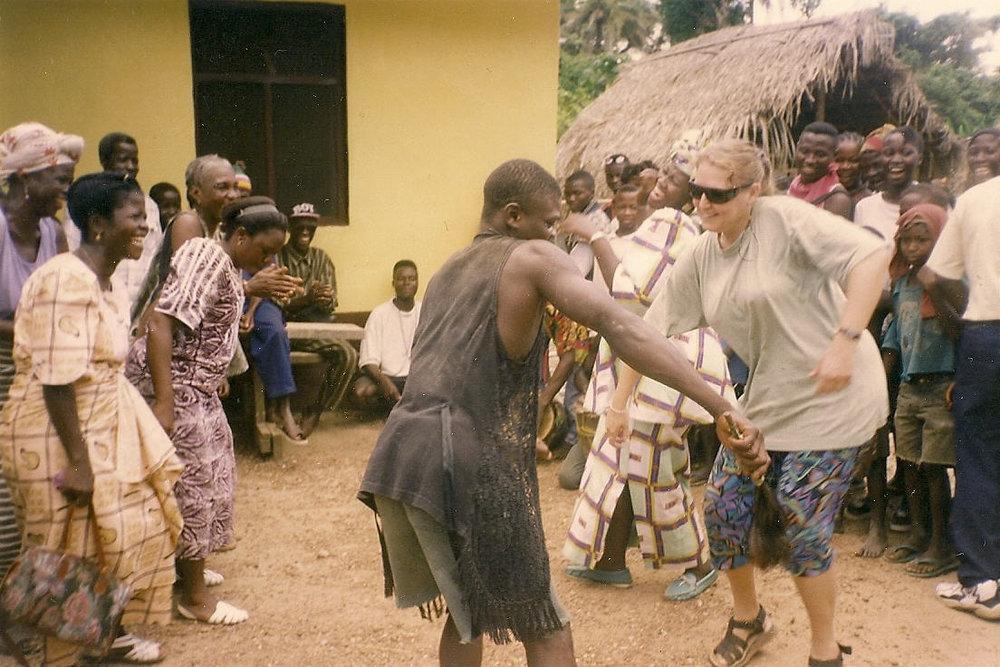Dancing in Liberia in 1999