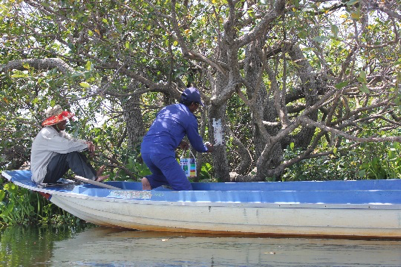 Picture 2: Marking fish conservation border points by painting trees