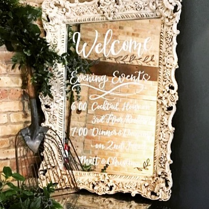Our Antique mirror made a lovely first impression and a creative way to welcome friends and family. #vintagewedding #mirrorart #weddingplanning #rusticwedding #chalkart #eventphotography #eventstyling