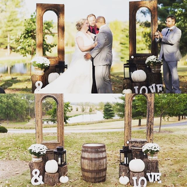 Our farmhouse doors and whiskey barrel added a beautiful backdrop to an already stunning outdoor ceremony!  #eventstyling #eventphotography #rusticwedding #vintagewedding #weddingplanning #weddingrental #outdoorwedding