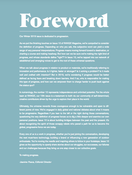 Range Magazine Issue 10 foreward - on  progress