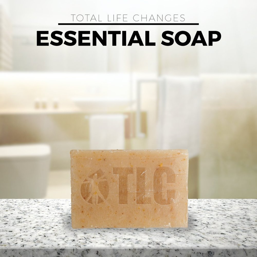Essential Soap   A 100% pure therapeutic grade essential oils soap; combining a premium blend of oils and shea butter to provide a superior cleanse while leaving skin moisturized and healthy.