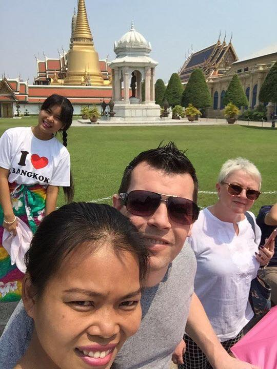 Myself, Pui my daughter Mymint and my mum at The Grand Palace, Bangkok, Thailand.