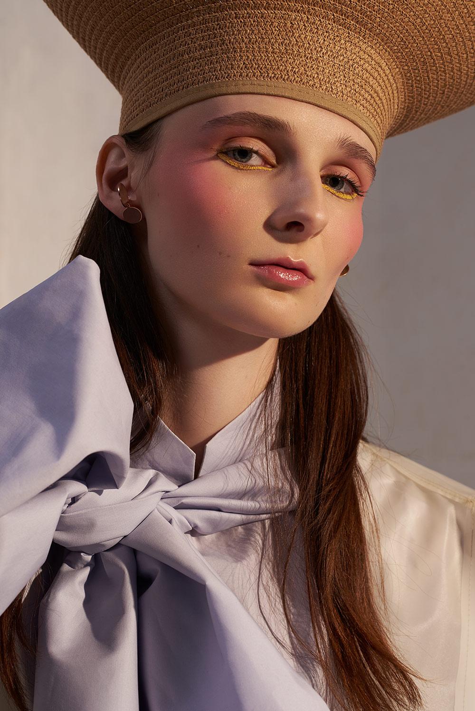 Blouse by Lisa van Wersch,PVC jacket by SOPOPULAR, hat stylist's own, earrings by Sibylai