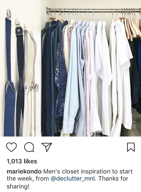 Thrilled that my hubby's KonMari-ed closet was featured on her IG
