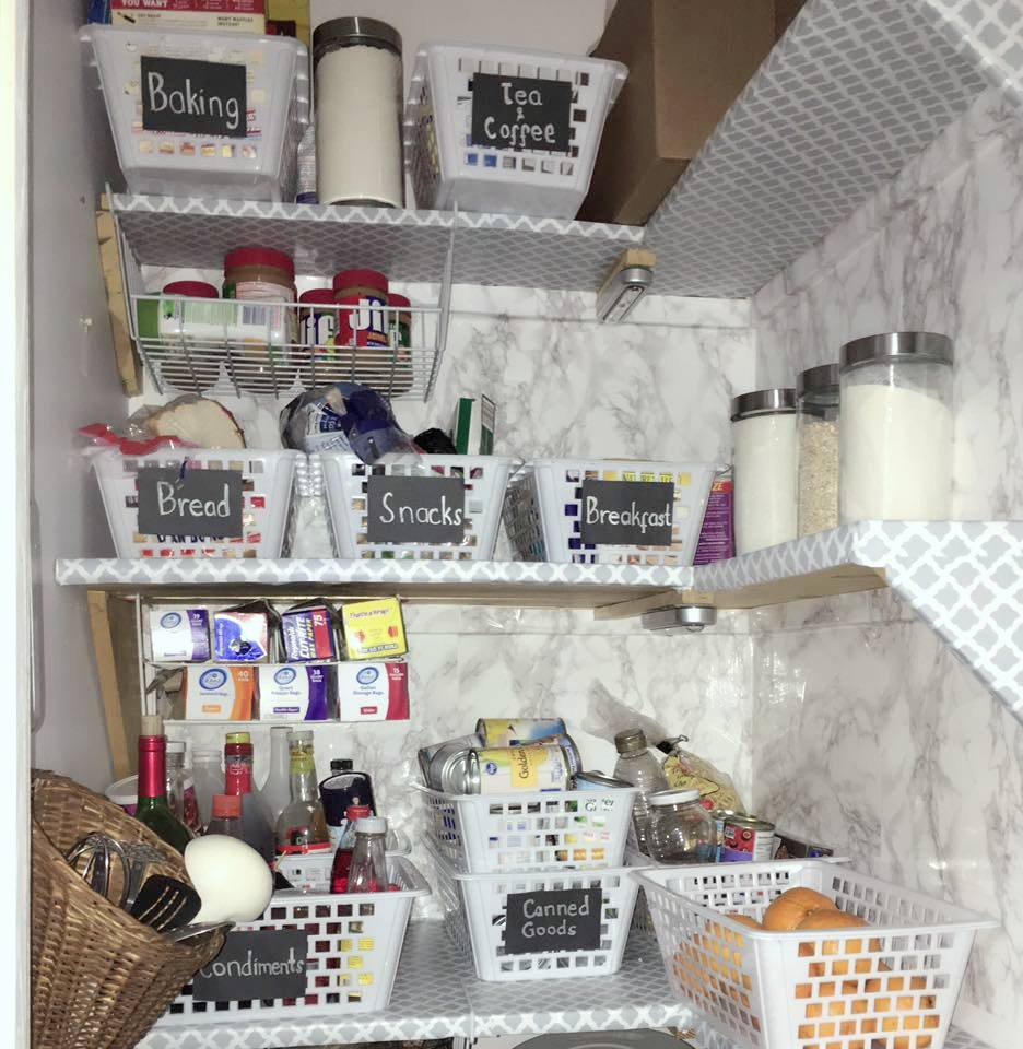 After disposing of all the expired items & using organizers with chalkboard labels to keep similar items together, the pantry went from chaotic to one that anyone can find anything they need stress-free.